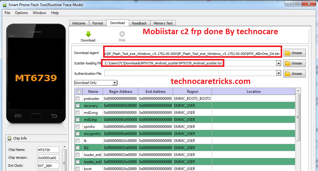 Mobiistar c2 frp unlock done with sp tool only with frp files